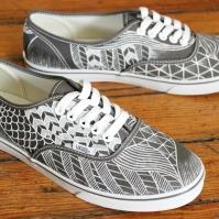 A hand painted pair of custom modern pattern Vans shoes by artist Lauren Rundquist at LaQuist.