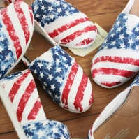 American Flag TOMS shoes hand painted by artist Lauren Rundquist at LaQuist.