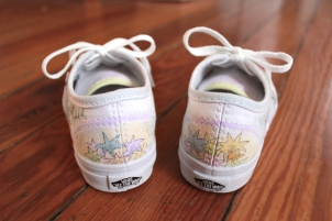 A hand painted pair of 'Where the Wild Things Are' shoes by artist Lauren Rundquist at LaQuist.