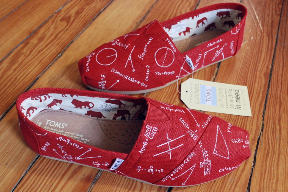 A pair of custom calculus TOMS hand painted by artist Lauren Rundquist at LaQuist.