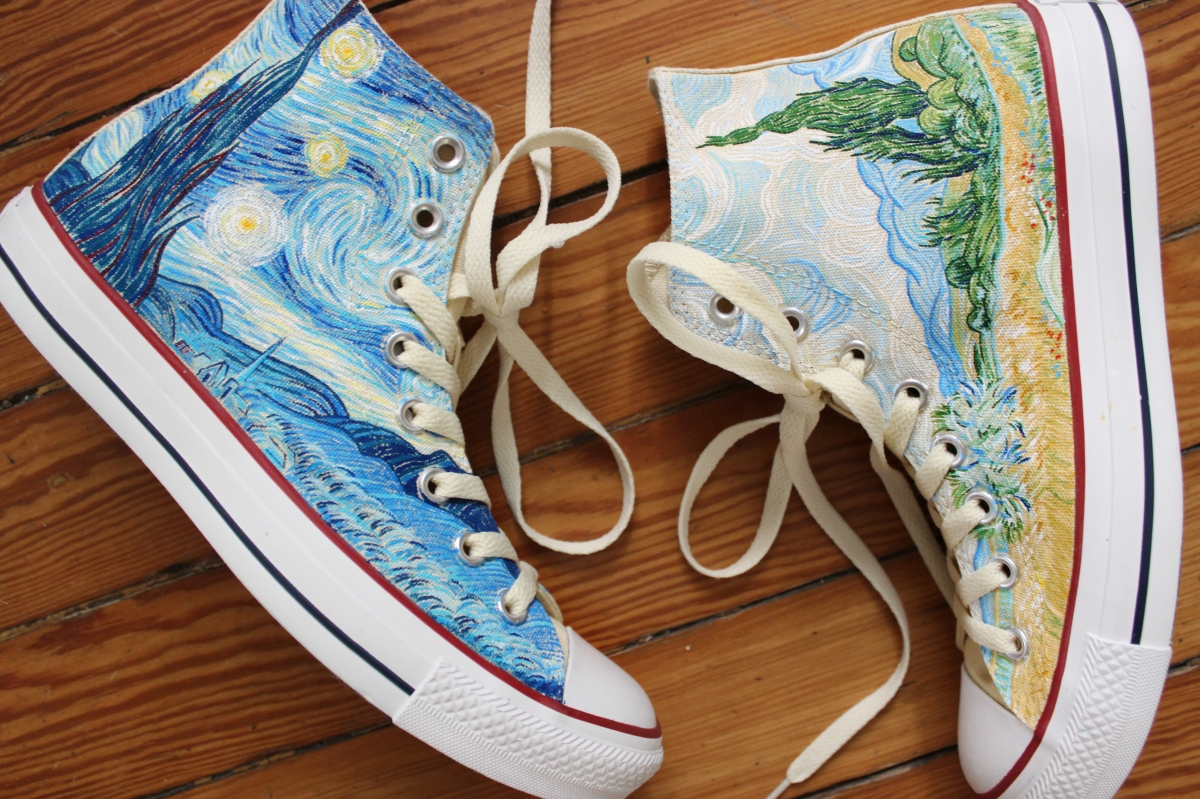 A pair of Vincent Van Gogh Starry Night and Cypresses high top Converse  shoes hand painted cae850d1e
