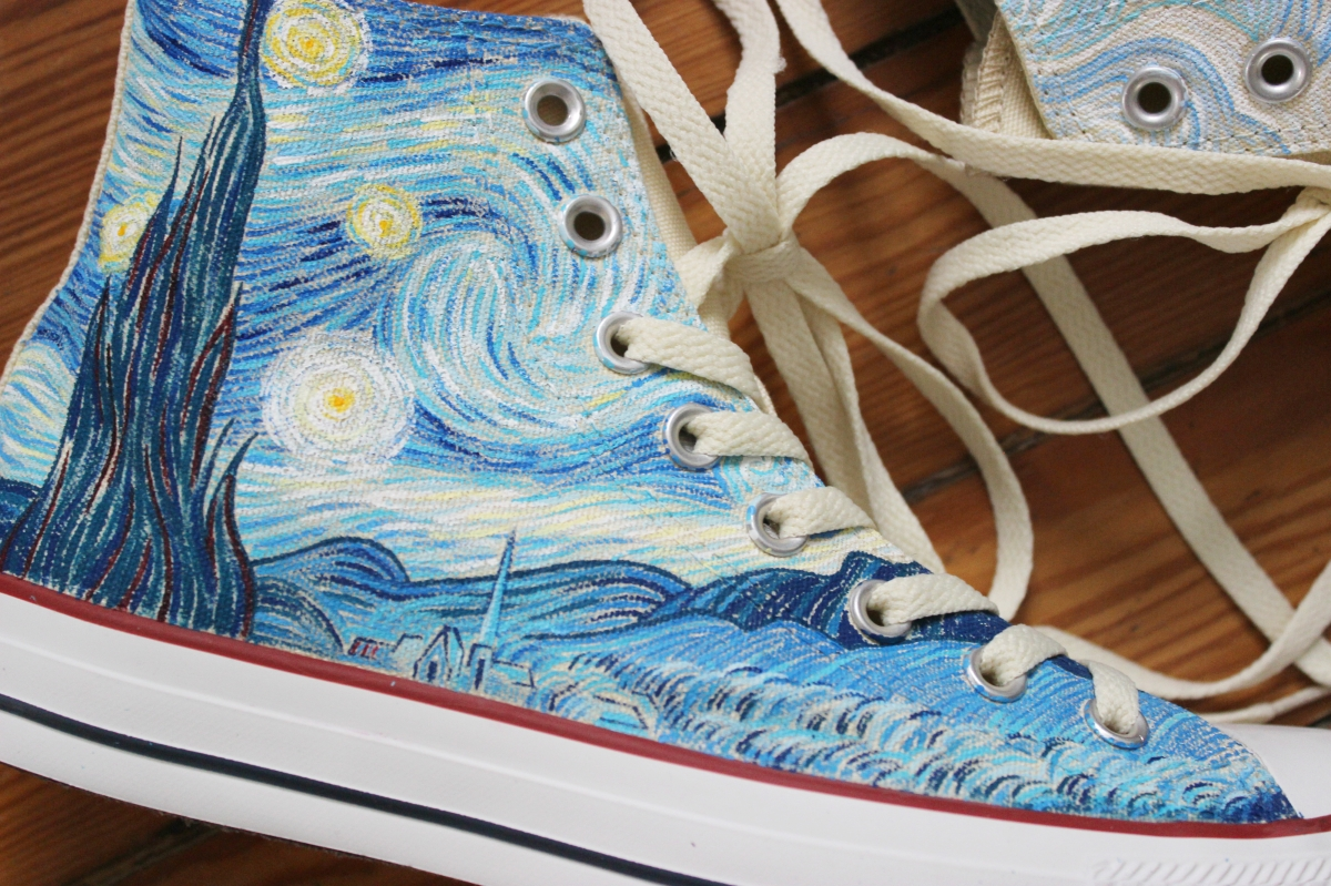 A pair of Vincent Van Gogh Starry Night and Cypresses high top Converse shoes  hand painted c1f3694a3