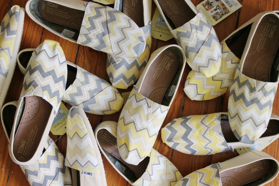 Matching bridesmaids chevron TOMS shoes hand painted with wedding colors by artist Lauren Rundquist at LaQuist.